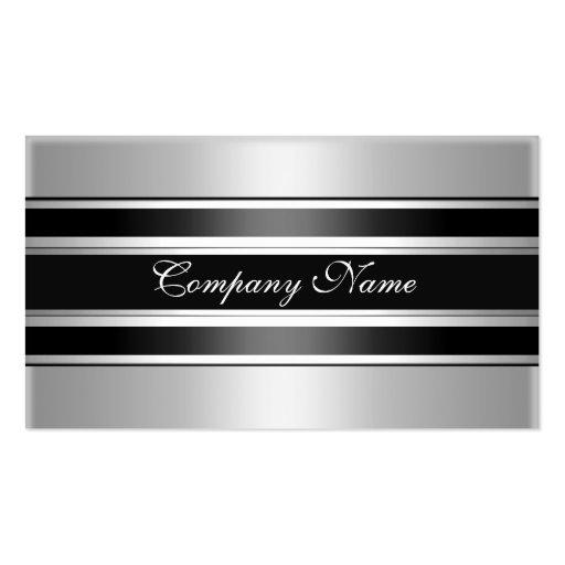 Elegantes silbernes Chrom-Metallschwarzes Visitenkartenvorlage
