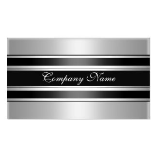 Elegantes silbernes Chrom-Metallschwarzes Visitenkarten