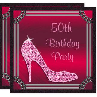 Elegantes silbernes gerahmtes rosa Stilett-50. Quadratische 13,3 Cm Einladungskarte