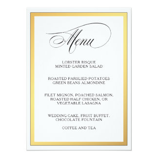 Elegantes Skript blüht Hochzeits-Menü 14 X 19,5 Cm Einladungskarte