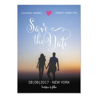 Elegantes Skript-Foto, das Save the Date Wedding Karte