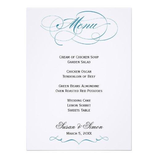 Elegantes Skript-Hochzeits-Menü - Blau 14 X 19,5 Cm Einladungskarte ...