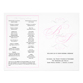 Elegantes Skript-Hochzeits-Programm - Rosa Flyer