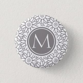 Elegantes Sonnenblume-Muster mit Monogramm Runder Button 2,5 Cm