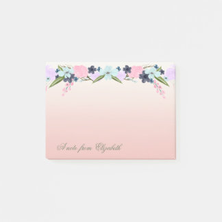 Elegantes stilvolles Girly, Watercolor-Blumen Post-it Klebezettel