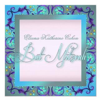 Elegantes Strudel-Rosa-lila Schläger Mitzvah Quadratische 13,3 Cm Einladungskarte
