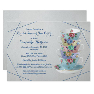 Elegantes Teacups-Brautparty Karte
