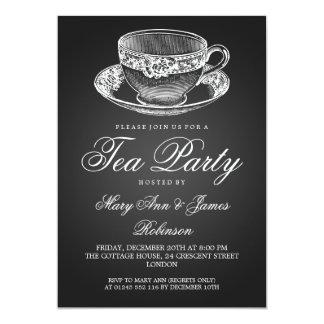 Elegantes Tee-Party-Vintages Tee-Schalen-Schwarzes 12,7 X 17,8 Cm Einladungskarte