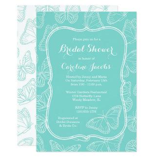 Elegantes Tiffany blaues Schmetterlings-Brautparty Karte