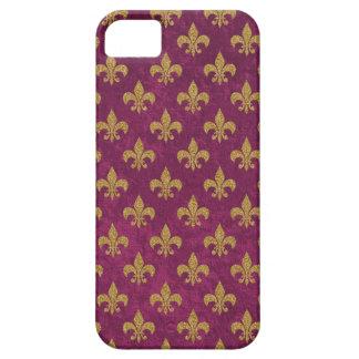 Elegantes trendy Imitat Samt und GoldLilie iPhone 5 Etui