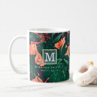 Elegantes tropisches modernes Goldrahmen-mit Kaffeetasse