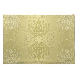 Elegantes überlagertes Goldblumendamast-Tischset Stofftischset
