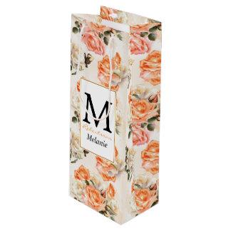 Elegantes Vintages beige Rosenmuster Geschenktüte Für Weinflaschen