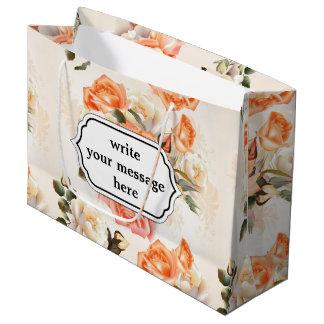 Elegantes Vintages beige Rosenmuster Große Geschenktüte