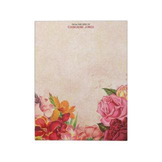 Elegantes Vintages Blumen  Vintages Papier   bunt Notizblock