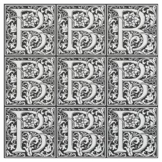 Elegantes Vintages Blumenmonogramm des buchstabe-B Stoff