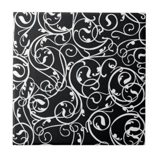 Elegantes Vintages Damast-Schwarzweiss-Muster Kleine Quadratische Fliese
