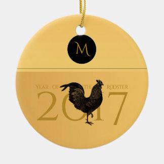 Elegantes Vintages Hahn-Jahr-Monogramm 2017 O Keramik Ornament