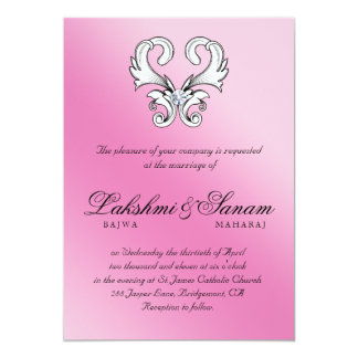 Elegantes Vintages Herz-Juwel, das rosa Weiß 12,7 X 17,8 Cm Einladungskarte