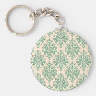 Elegantes Vintages Retro Damast-Muster Schlüsselanhänger