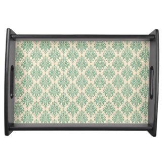 Elegantes Vintages Retro Damast-Muster Tablett