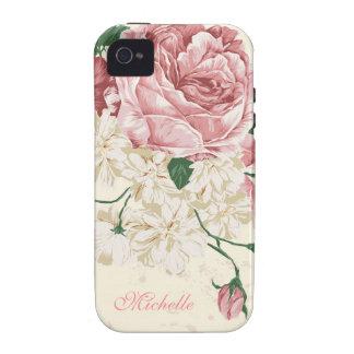Elegantes Vintages rosa Blumenmuster iPhone 4/4S Hülle