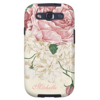 Elegantes Vintages rosa Blumenmuster Galaxy SIII Etuis
