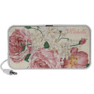 Elegantes Vintages rosa Blumenmuster Speaker System