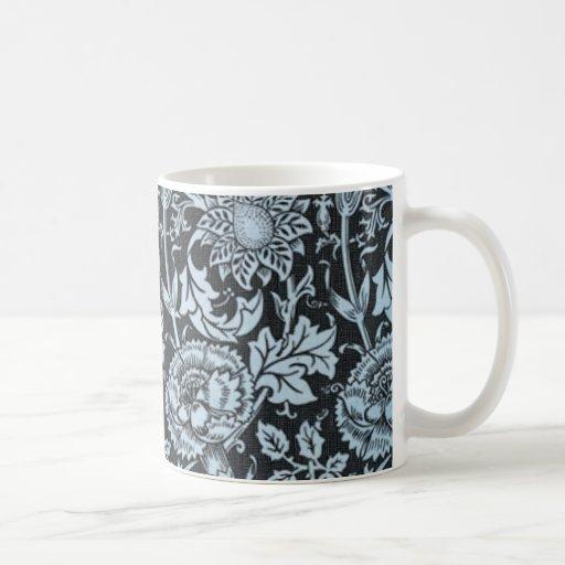 Elegantes Vintages schwarzes und blaues Blumen Kaffeetasse