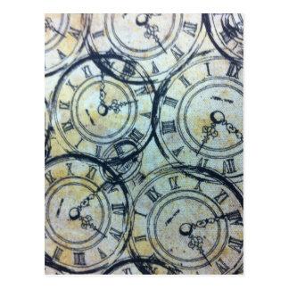 Elegantes Vintages Taschen-Uhr-Muster Postkarte