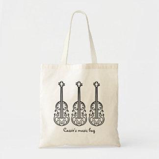 Elegantes Violinenmuster Tragetasche