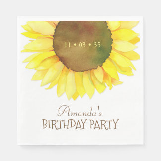 Elegantes Watercolor-Sonnenblume-Geburtstags-Party Servietten