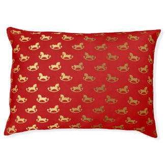 Elegantes WeihnachtsSchaukelpferd-Goldmuster Haustierbett