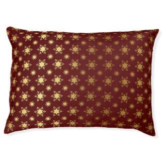 Elegantes Weihnachtsschneeflocke-Goldfolien-Muster Haustierbett