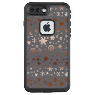 Elegantes Weihnachtsschneeflockemuster-Rosengold LifeProof FRÄ' iPhone 8 Plus/7 Plus Hülle