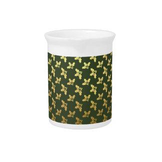 Elegantes Weihnachtsstechpalmen-Goldmuster Getränke Pitcher