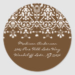 Elegantes Weiß u. Brown-Damast-Adressen-Etikett Runder Aufkleber