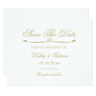 Elegantes Weiß-und Goldmonogramm Save the Date Karte
