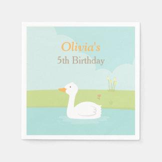 Elegantes weißes Enten-Geburtstags-Party liefert Servietten