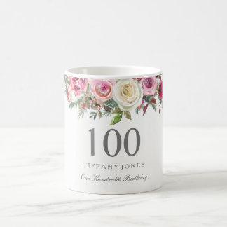 Elegantes weißes Rosen-Rosa-Blumen100. Geburtstag Kaffeetasse