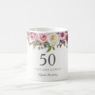 Elegantes weißes Rosen-Rosa-Blumen70. Geburtstag Kaffeetasse