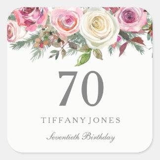 Elegantes weißes Rosen-Rosa-Blumen70. Geburtstag Quadratischer Aufkleber