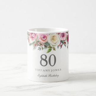 Elegantes weißes Rosen-Rosa-Blumen80. Geburtstag Kaffeetasse