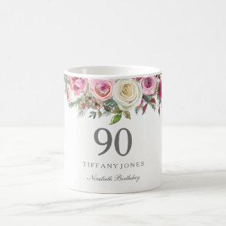 Elegantes weißes Rosen-Rosa-Blumen90. Geburtstag Kaffeetasse