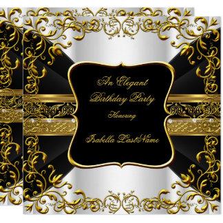 Elegantes weißes schwarzes Goldverziertes Karte