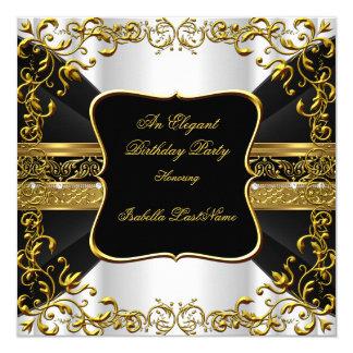Elegantes weißes schwarzes Goldverziertes Quadratische 13,3 Cm Einladungskarte