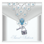 Elegantes weißes silbernes blaues Juwel 16. Individuelle Ankündigungskarte