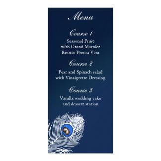 Elegantes weißes und blaues Pfaumenü Werbekarte
