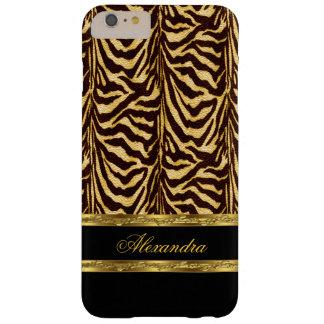 Elegantes wildes Zebra-Schwarzes und Gold Barely There iPhone 6 Plus Hülle