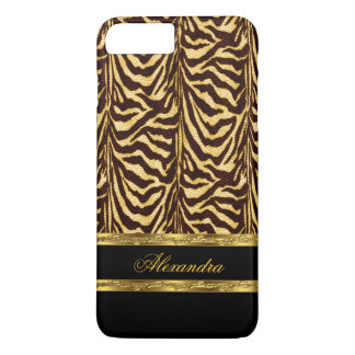 Elegantes wildes Zebra-Schwarzes und Gold iPhone 7 Plus Hülle